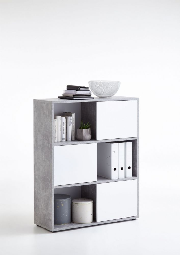 Cadiz White Gloss Triple Bookcase | Amos Mann Wholesale